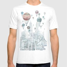 Voyages Over New York SMALL White Mens Fitted Tee