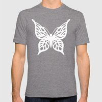 Butterfly White On Black Mens Fitted Tee Tri-Grey SMALL