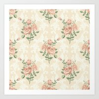 Rose Vintage Pattern  Art Print