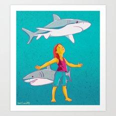 Flying Shark Art Print