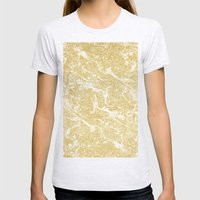 Modern faux gold glitter stylish marble effect Womens Fitted Tee Ash Grey SMALL