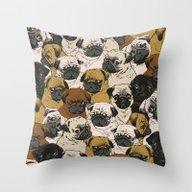 Throw Pillow featuring Social Pugz by Huebucket