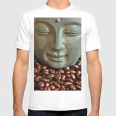 Coffee Buddha 3 White Mens Fitted Tee SMALL
