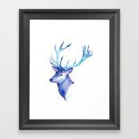 Blue Antlers Framed Art Print