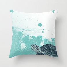 Sea Foam Sea Turtle Throw Pillow