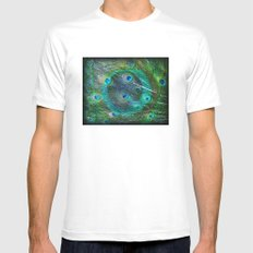 The Peacock Dream Mens Fitted Tee SMALL White