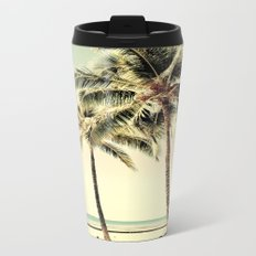 Retro Vintage Palm Tree with Hawaii Summer Sea Beach Travel Mug