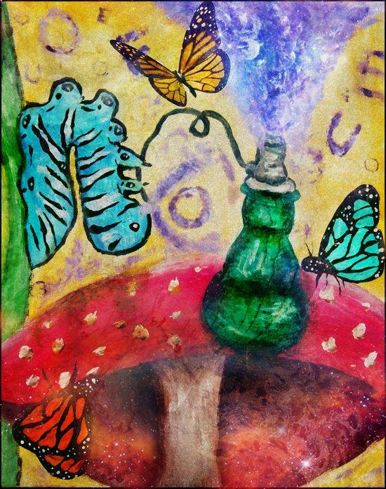 Alice in wonderland Blue hookah caterpillar Art Print