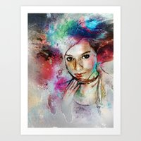 Girl With Multi-Colored … Art Print
