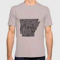 Typographic Arkansas Mens Fitted Tee Cinder SMALL
