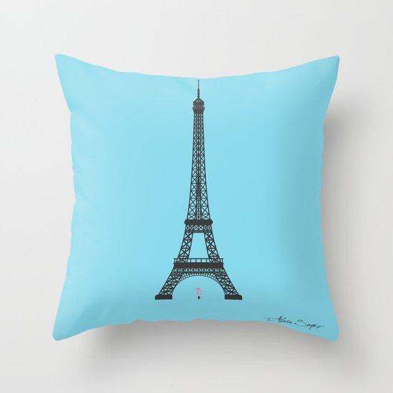 Eiffel Tower - First Kiss Throw Pillow