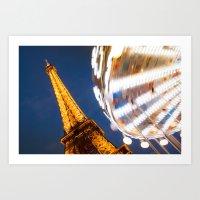Tour Eiffel Carousel Art Print