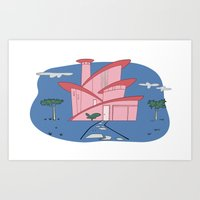 Pink Panther's Modern Ho… Art Print