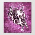 Plum Smoke and roses skull Illustration. Canvas Print