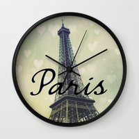 Paris Typography Eiffel Tower  Wall Clock
