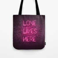 Love Lives Here (Magenta) Tote Bag