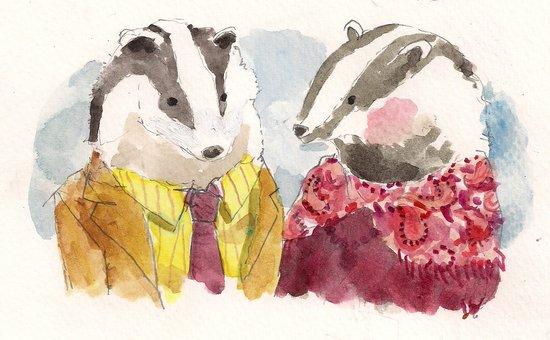 Badger Couple Art Print
