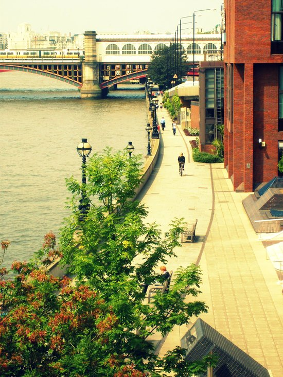 Along the River Thames. Canvas Print