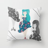RETRO BLUE Throw Pillow