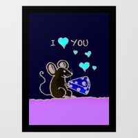 Mouse Loves Cheese Art Print