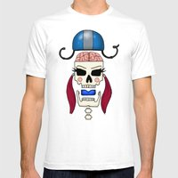 Skater Skull By RonkyTon… Mens Fitted Tee White SMALL
