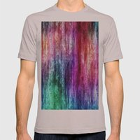 Melting Rainbow Watercolor Abstract Mens Fitted Tee Cinder SMALL