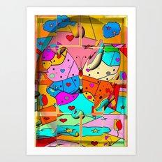 Butterfly Popart by Nico Bielow Art Print