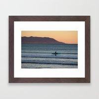 Surfer At Sunset Framed Art Print