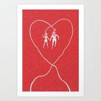 Love Space, Red Art Print