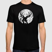 Deer at night Mens Fitted Tee Black SMALL