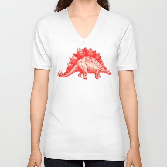 Red Stegosaurus  V-neck T-shirt
