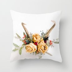Floral Antlers IV Throw Pillow