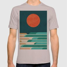 Chasing wave under the red moon Mens Fitted Tee Cinder SMALL