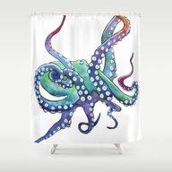 Rainbow Octopus Shower Curtain