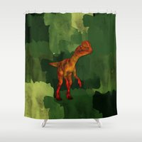 Dilophosaurus Dinosaur All Over Tshirt Shower Curtain