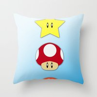 Super Mario Bros Star, Mushroom and Flower Throw Pillow