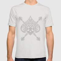 Pirate Skull Mens Fitted Tee Silver SMALL