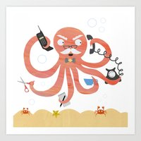A busy Octopus works in an office Art Print