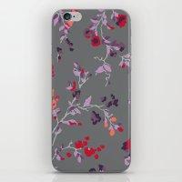 Floral Vines - Dark Grey… iPhone & iPod Skin