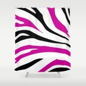 Black and Hot Pink Zebra Stripes Print Shower Curtain
