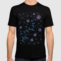 Abstract Glowing Blue Fl… Mens Fitted Tee Black SMALL