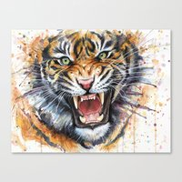 Tiger Watercolor Painting Canvas Print