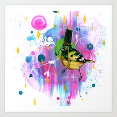 Square painting of oriole Art Print