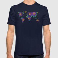 Tangled World Map Mens Fitted Tee Navy SMALL