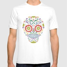 Sugar Skull SF multi 2 - on white White Mens Fitted Tee SMALL