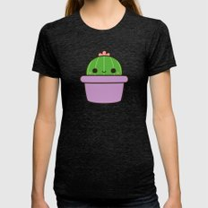 Cute Cactus In Purple Po… Womens Fitted Tee Tri-Black SMALL