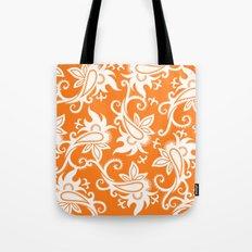 Paisley: Orange Ivory Tote Bag