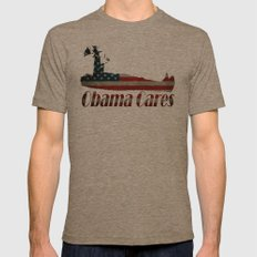 Obama Cares Mens Fitted Tee Tri-Coffee SMALL