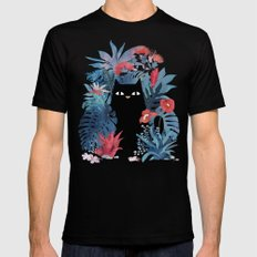 Popoki in Blue SMALL Mens Fitted Tee Black
