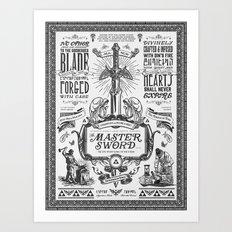 Legend of Zelda Vintage Master Sword Advertisement Art Print